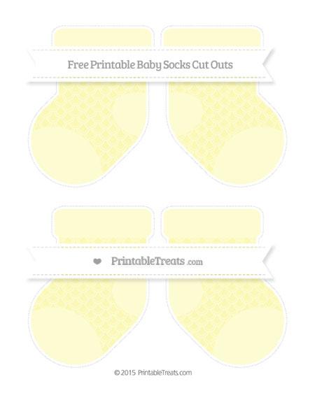 Free Pastel Light Yellow Fish Scale Pattern Medium Baby Socks Cut Outs