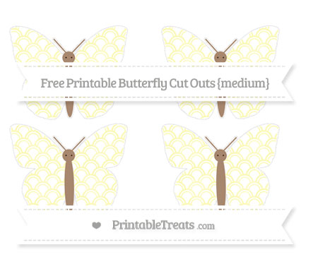 Free Pastel Light Yellow Fish Scale Pattern Medium Butterfly Cut Outs