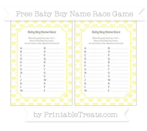 Free Pastel Light Yellow Heart Pattern Baby Boy Name Race Game