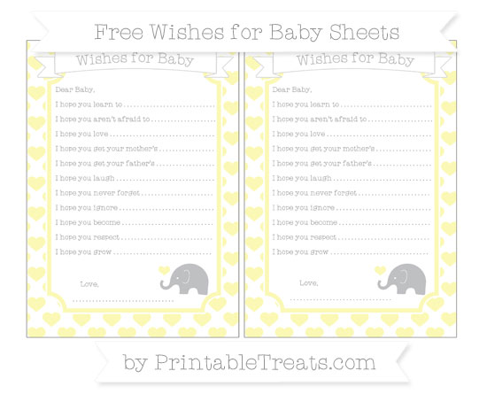 Free Pastel Light Yellow Heart Pattern Baby Elephant Wishes for Baby Sheets