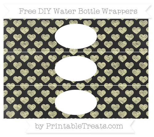 Free Pastel Light Yellow Heart Pattern Chalk Style DIY Water Bottle Wrappers