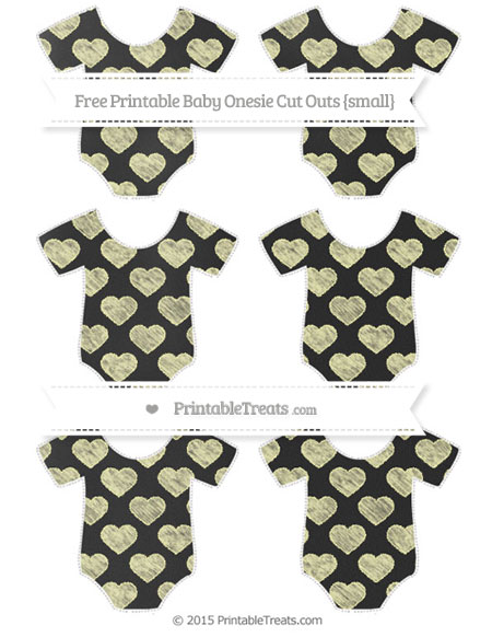 Free Pastel Light Yellow Heart Pattern Chalk Style Small Baby Onesie Cut Outs