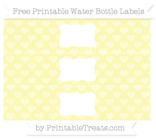 Free Pastel Light Yellow Heart Pattern Water Bottle Labels