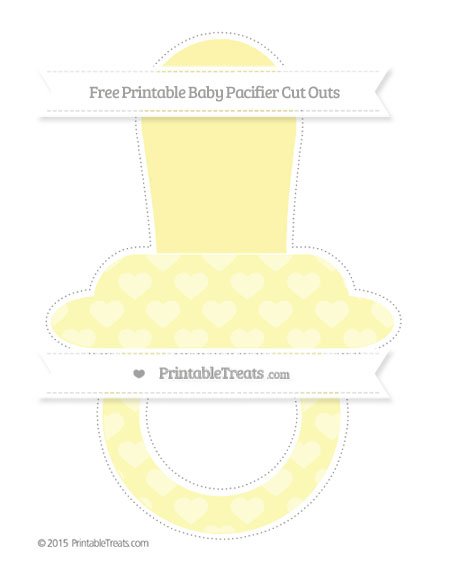 Free Pastel Light Yellow Heart Pattern Extra Large Baby Pacifier Cut Outs