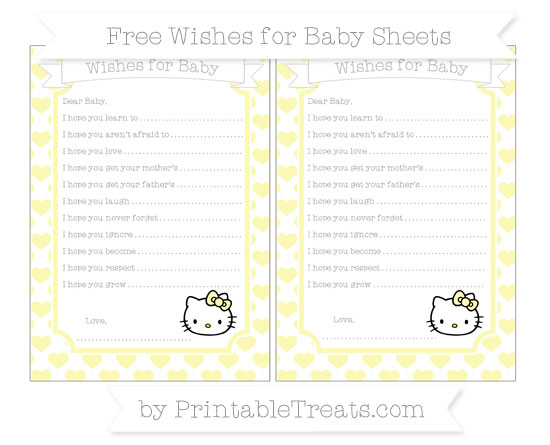 Free Pastel Light Yellow Heart Pattern Hello Kitty Wishes for Baby Sheets