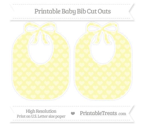 Free Pastel Light Yellow Heart Pattern Large Baby Bib Cut Outs