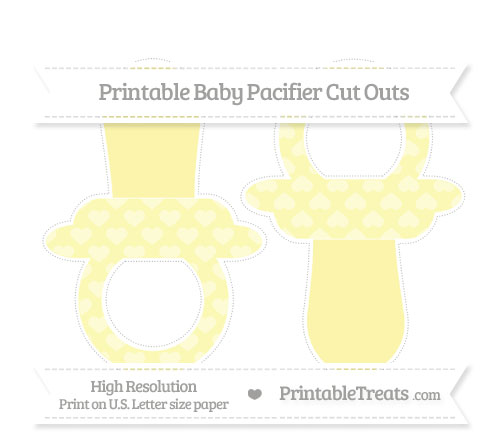 Free Pastel Light Yellow Heart Pattern Large Baby Pacifier Cut Outs