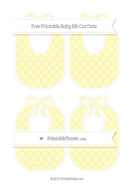 Free Pastel Light Yellow Heart Pattern Medium Baby Bib Cut Outs