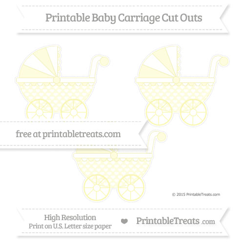 Free Pastel Light Yellow Heart Pattern Medium Baby Carriage Cut Outs