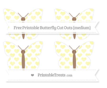 Free Pastel Light Yellow Heart Pattern Medium Butterfly Cut Outs