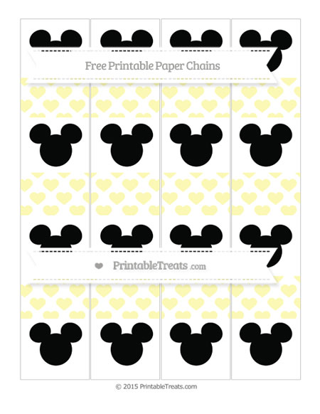 Free Pastel Light Yellow Heart Pattern Mickey Mouse Paper Chains