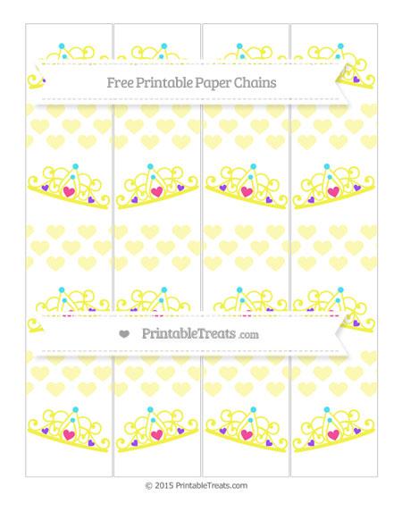 Free Pastel Light Yellow Heart Pattern Princess Tiara Paper Chains