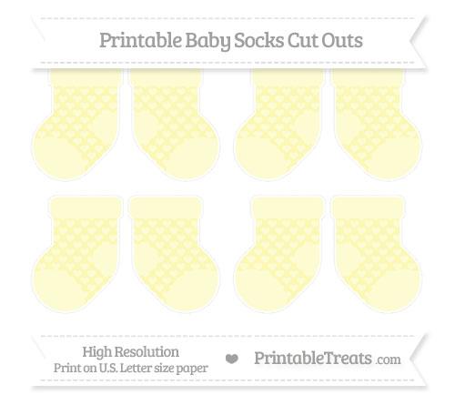 Free Pastel Light Yellow Heart Pattern Small Baby Socks Cut Outs