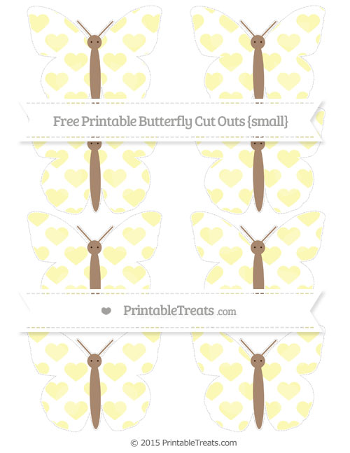 Free Pastel Light Yellow Heart Pattern Small Butterfly Cut Outs