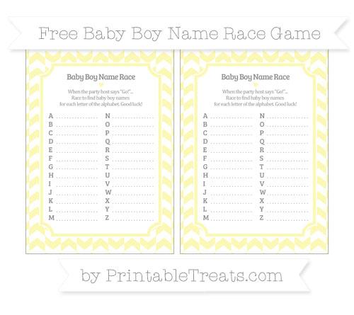 Free Pastel Light Yellow Herringbone Pattern Baby Boy Name Race Game