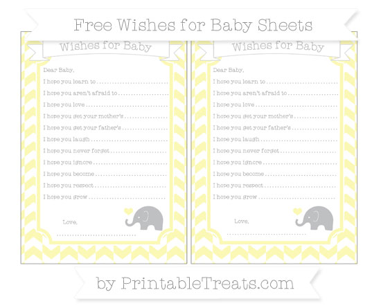 Free Pastel Light Yellow Herringbone Pattern Baby Elephant Wishes for Baby Sheets