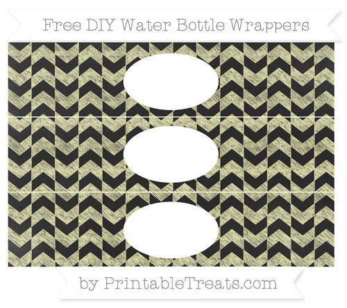 Free Pastel Light Yellow Herringbone Pattern Chalk Style DIY Water Bottle Wrappers
