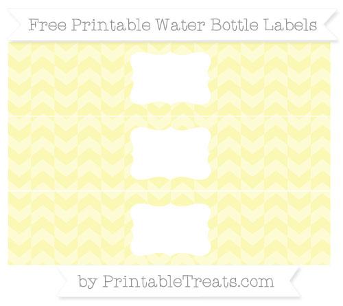 Free Pastel Light Yellow Herringbone Pattern Water Bottle Labels
