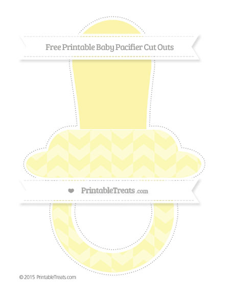 Free Pastel Light Yellow Herringbone Pattern Extra Large Baby Pacifier Cut Outs