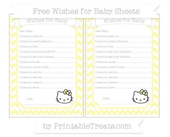 Free Pastel Light Yellow Herringbone Pattern Hello Kitty Wishes for Baby Sheets