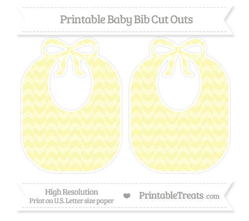 Free Pastel Light Yellow Herringbone Pattern Large Baby Bib Cut Outs