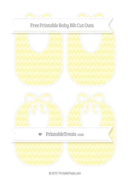 Free Pastel Light Yellow Herringbone Pattern Medium Baby Bib Cut Outs