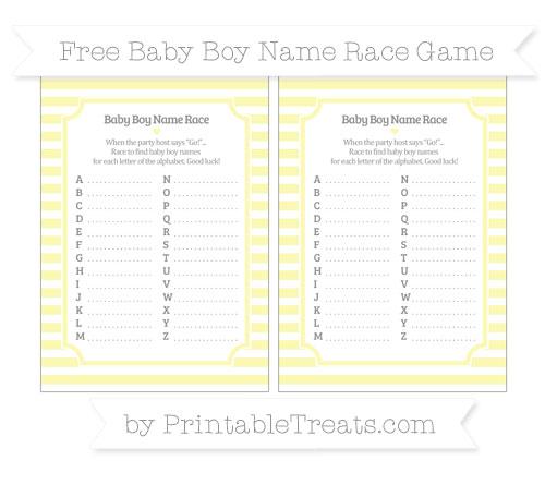 Free Pastel Light Yellow Horizontal Striped Baby Boy Name Race Game