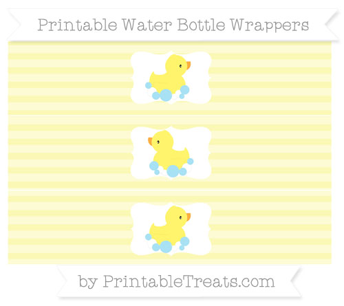 Free Pastel Light Yellow Horizontal Striped Baby Duck Water Bottle Wrappers
