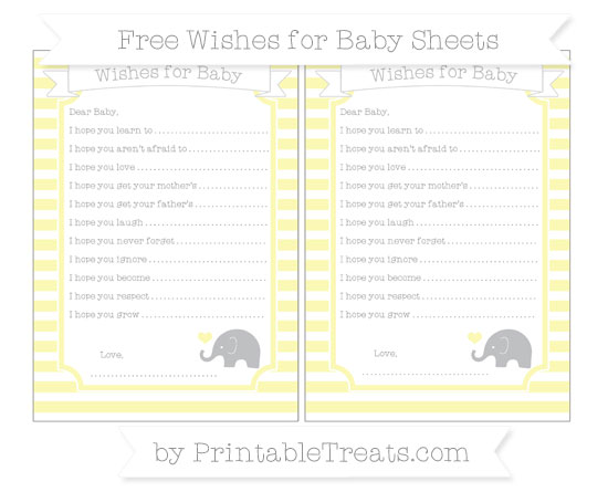 Free Pastel Light Yellow Horizontal Striped Baby Elephant Wishes for Baby Sheets