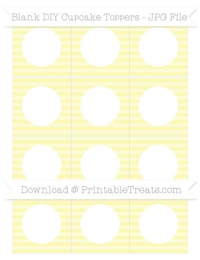 Free Pastel Light Yellow Horizontal Striped Blank DIY Cupcake Toppers