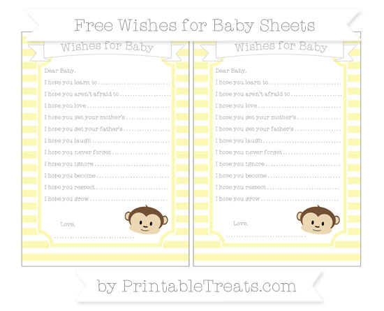 Free Pastel Light Yellow Horizontal Striped Boy Monkey Wishes for Baby Sheets