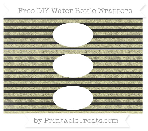 Free Pastel Light Yellow Horizontal Striped Chalk Style DIY Water Bottle Wrappers