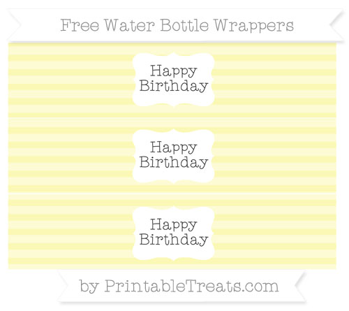 Free Pastel Light Yellow Horizontal Striped Happy Birhtday Water Bottle Wrappers