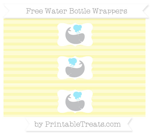 Free Pastel Light Yellow Horizontal Striped Whale Water Bottle Wrappers