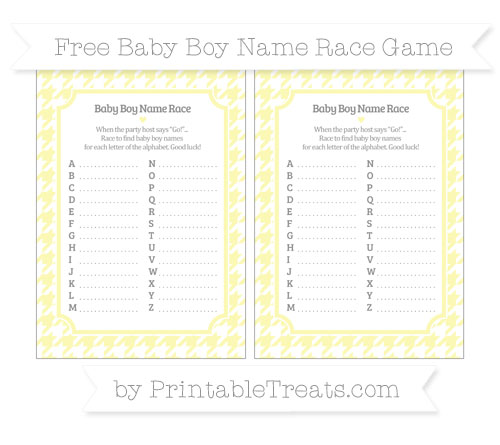 Free Pastel Light Yellow Houndstooth Pattern Baby Boy Name Race Game