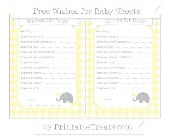 Free Pastel Light Yellow Houndstooth Pattern Baby Elephant Wishes for Baby Sheets