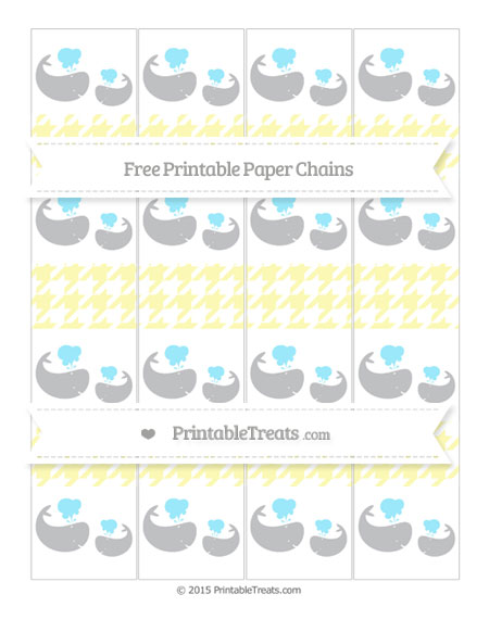 Free Pastel Light Yellow Houndstooth Pattern Baby Whale Paper Chains