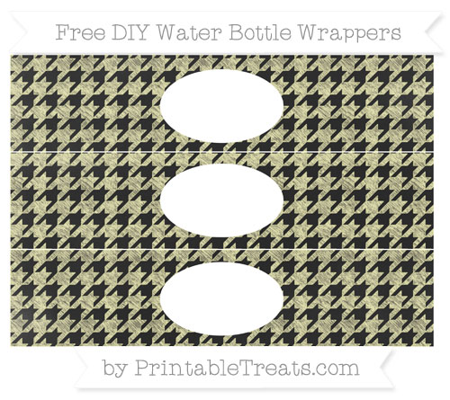 Free Pastel Light Yellow Houndstooth Pattern Chalk Style DIY Water Bottle Wrappers