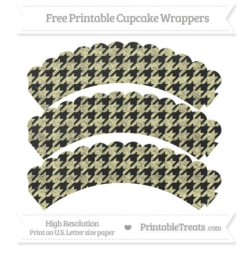 Free Pastel Light Yellow Houndstooth Pattern Chalk Style Scalloped Cupcake Wrappers