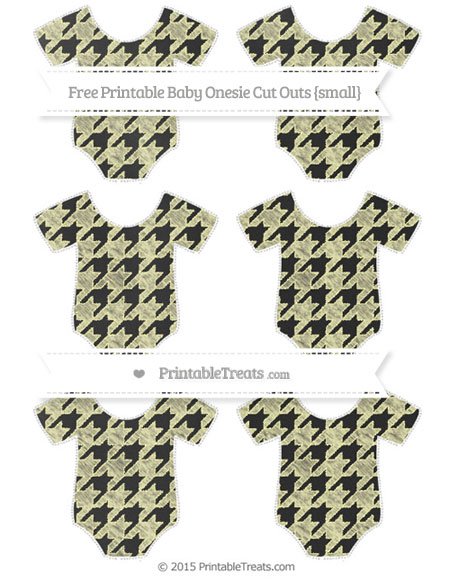 Free Pastel Light Yellow Houndstooth Pattern Chalk Style Small Baby Onesie Cut Outs