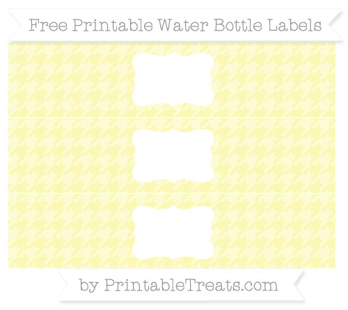 Free Pastel Light Yellow Houndstooth Pattern Water Bottle Labels