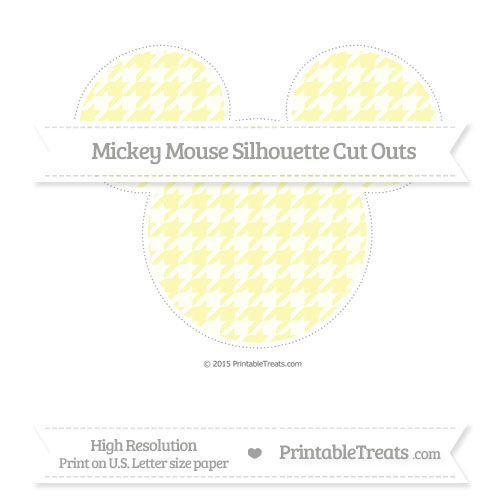 Free Pastel Light Yellow Houndstooth Pattern Extra Large Mickey Mouse Silhouette Cut Outs