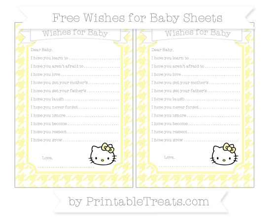 Free Pastel Light Yellow Houndstooth Pattern Hello Kitty Wishes for Baby Sheets