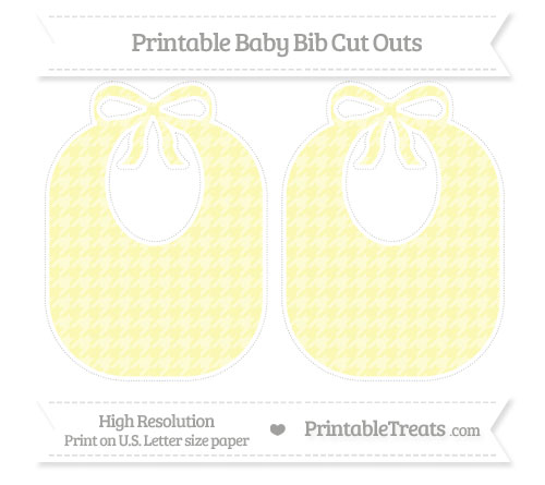 Free Pastel Light Yellow Houndstooth Pattern Large Baby Bib Cut Outs