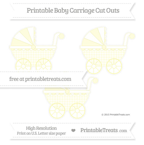 Free Pastel Light Yellow Houndstooth Pattern Medium Baby Carriage Cut Outs