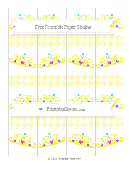 Free Pastel Light Yellow Houndstooth Pattern Princess Tiara Paper Chains