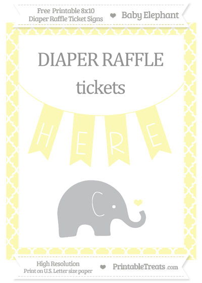 Free Pastel Light Yellow Moroccan Tile Baby Elephant 8x10 Diaper Raffle Ticket Sign