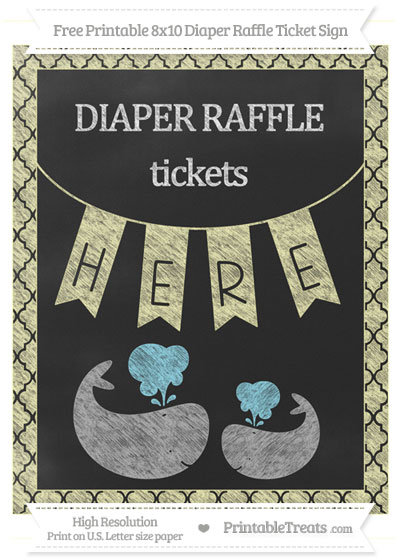 Free Pastel Light Yellow Moroccan Tile Chalk Style Baby Whale 8x10 Diaper Raffle Ticket Sign