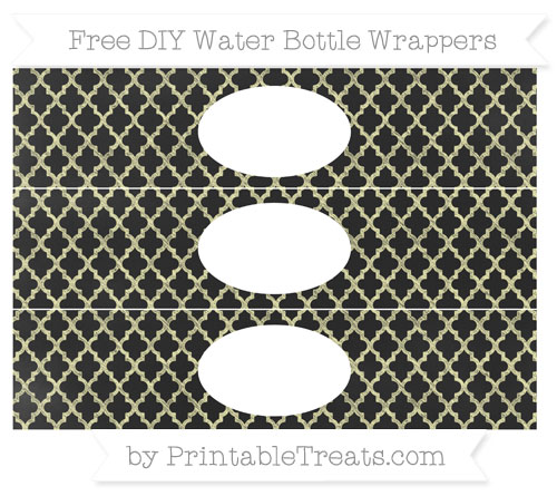 Free Pastel Light Yellow Moroccan Tile Chalk Style DIY Water Bottle Wrappers