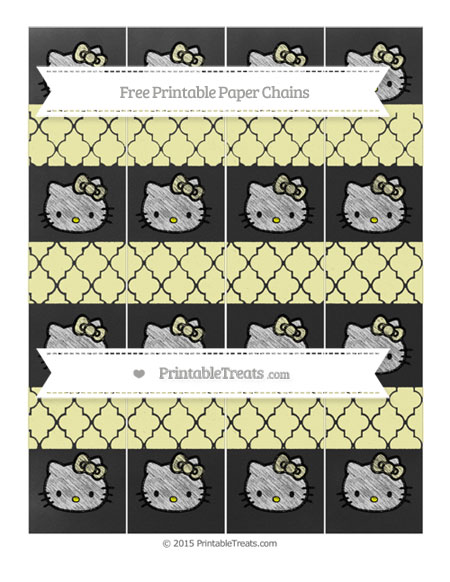 Free Pastel Light Yellow Moroccan Tile Chalk Style Hello Kitty Paper Chains